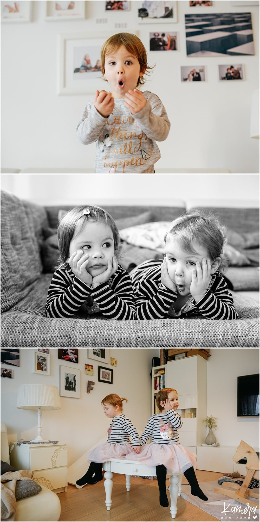 lustige Familienfotos zuhause