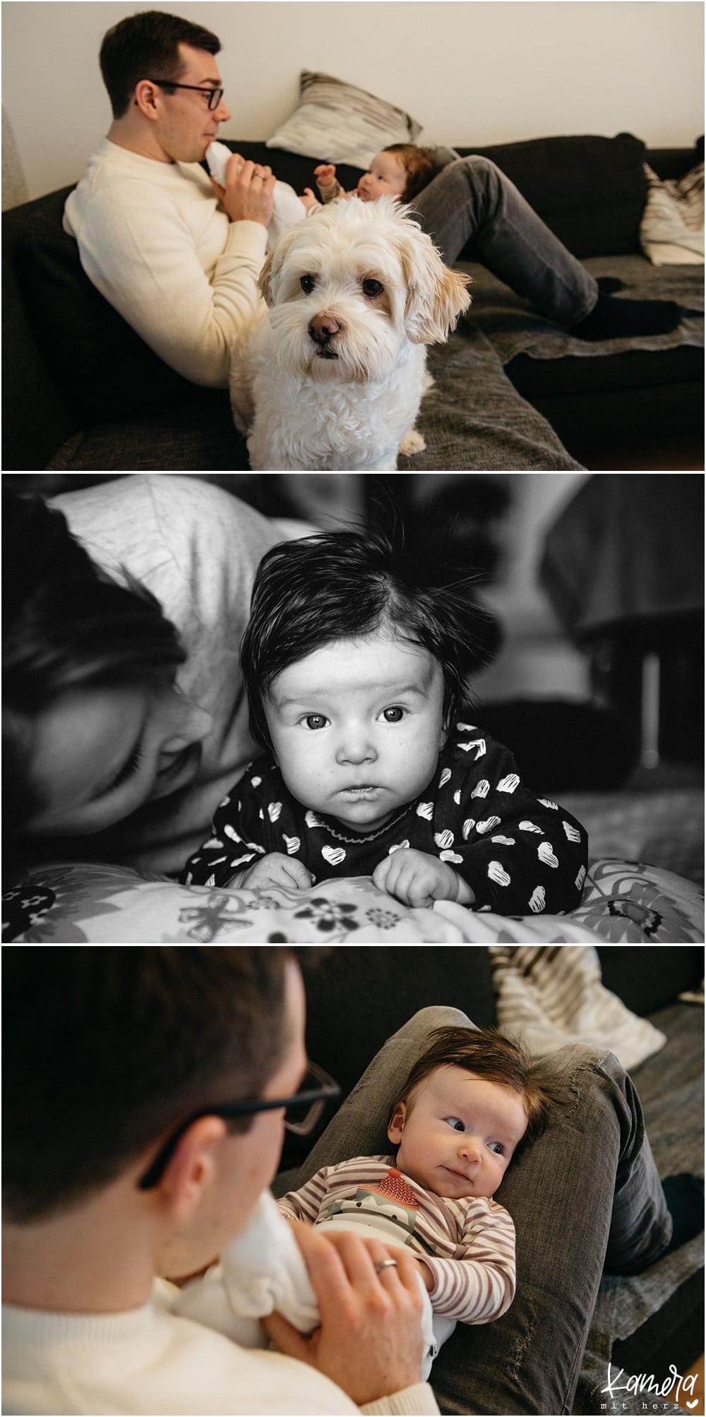 modernes Babyshooting zuhause mit Hund in Köln