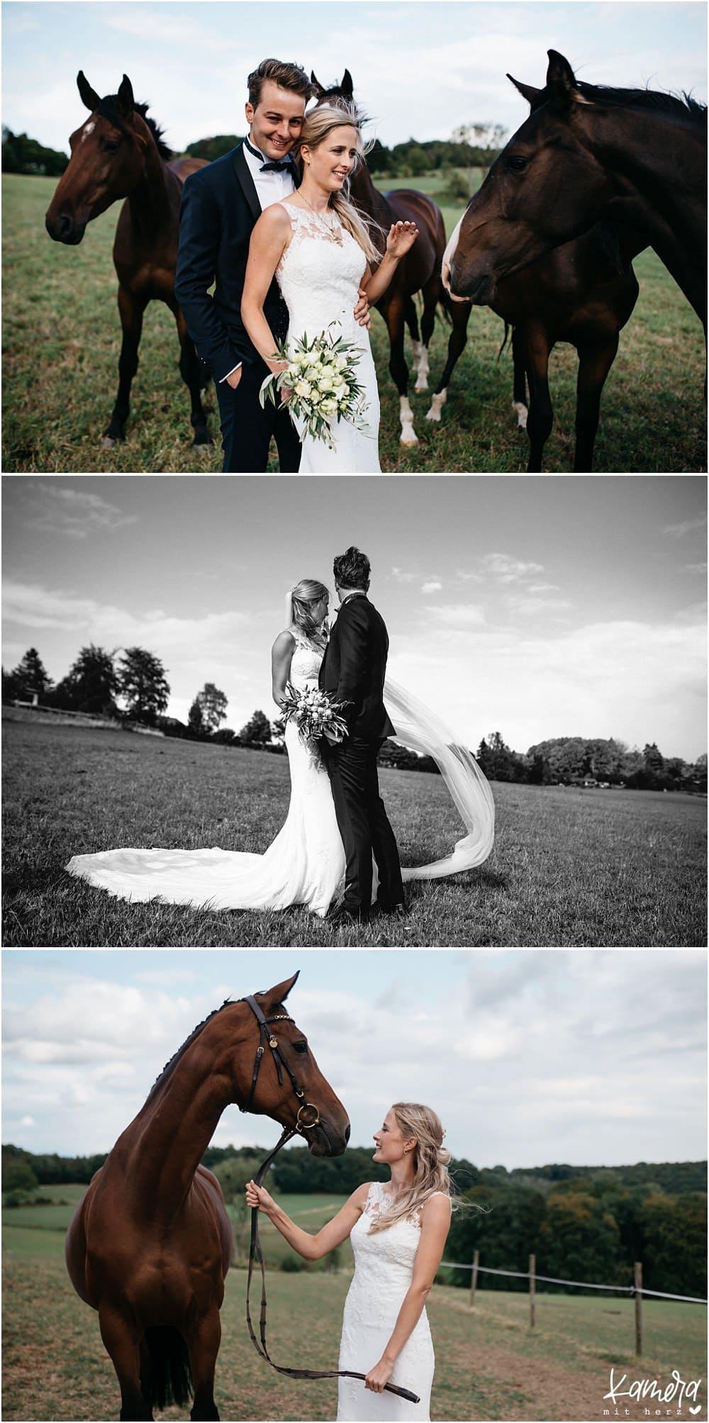Hochzeitsfotos mit Pferd aus Gut Bärbroich
