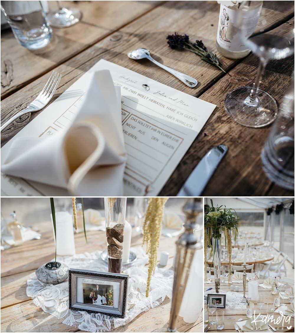 Tischdekoration bei Hochzeit auf Gut Bärbroich