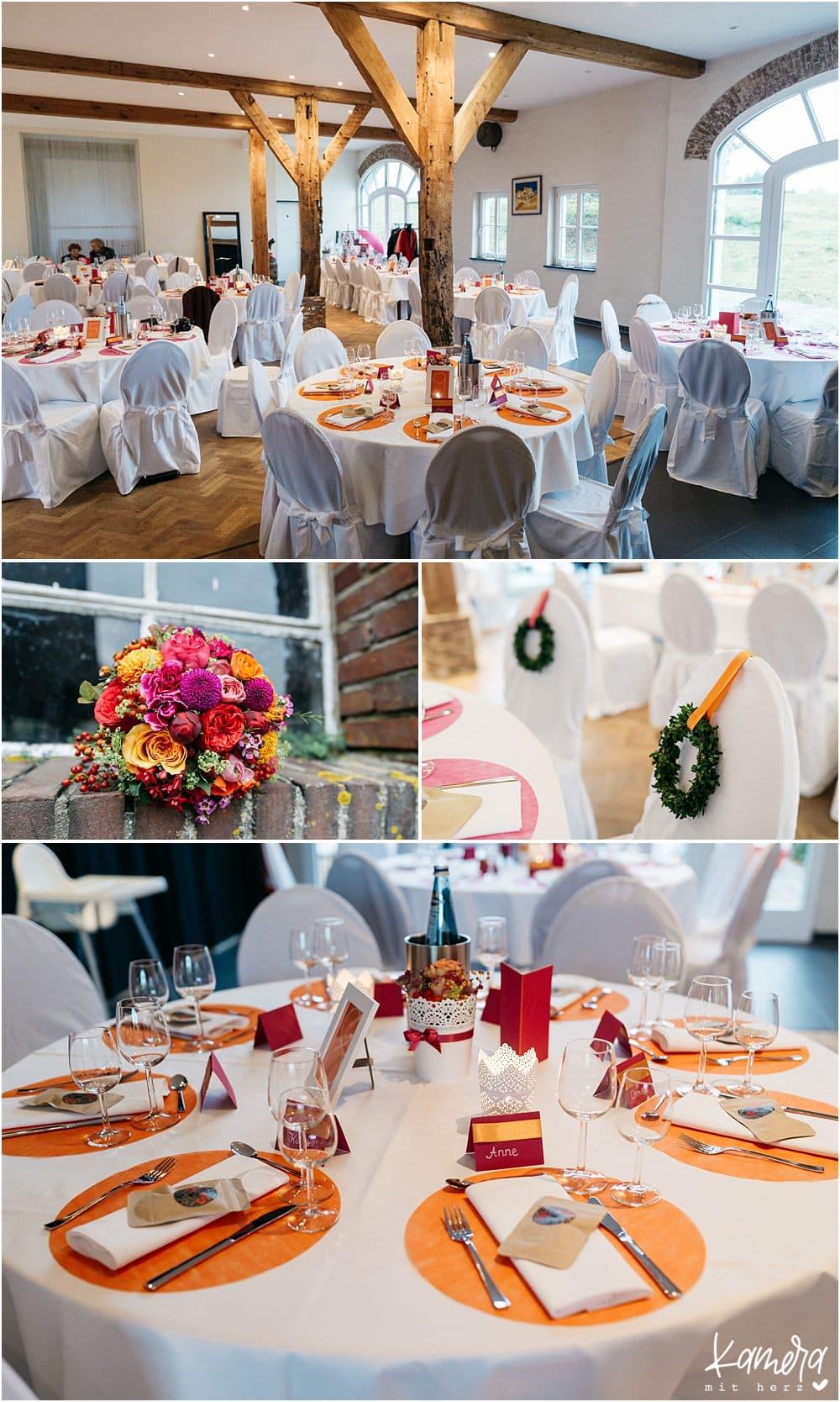 Kirchliche Trauung Kleve und Hochzeitsfeier im Hof Ten Berge - Dekoration