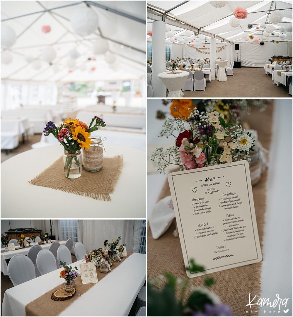 Hochzeitslocation Nüssenberger Hof - Dekoration Festzelt