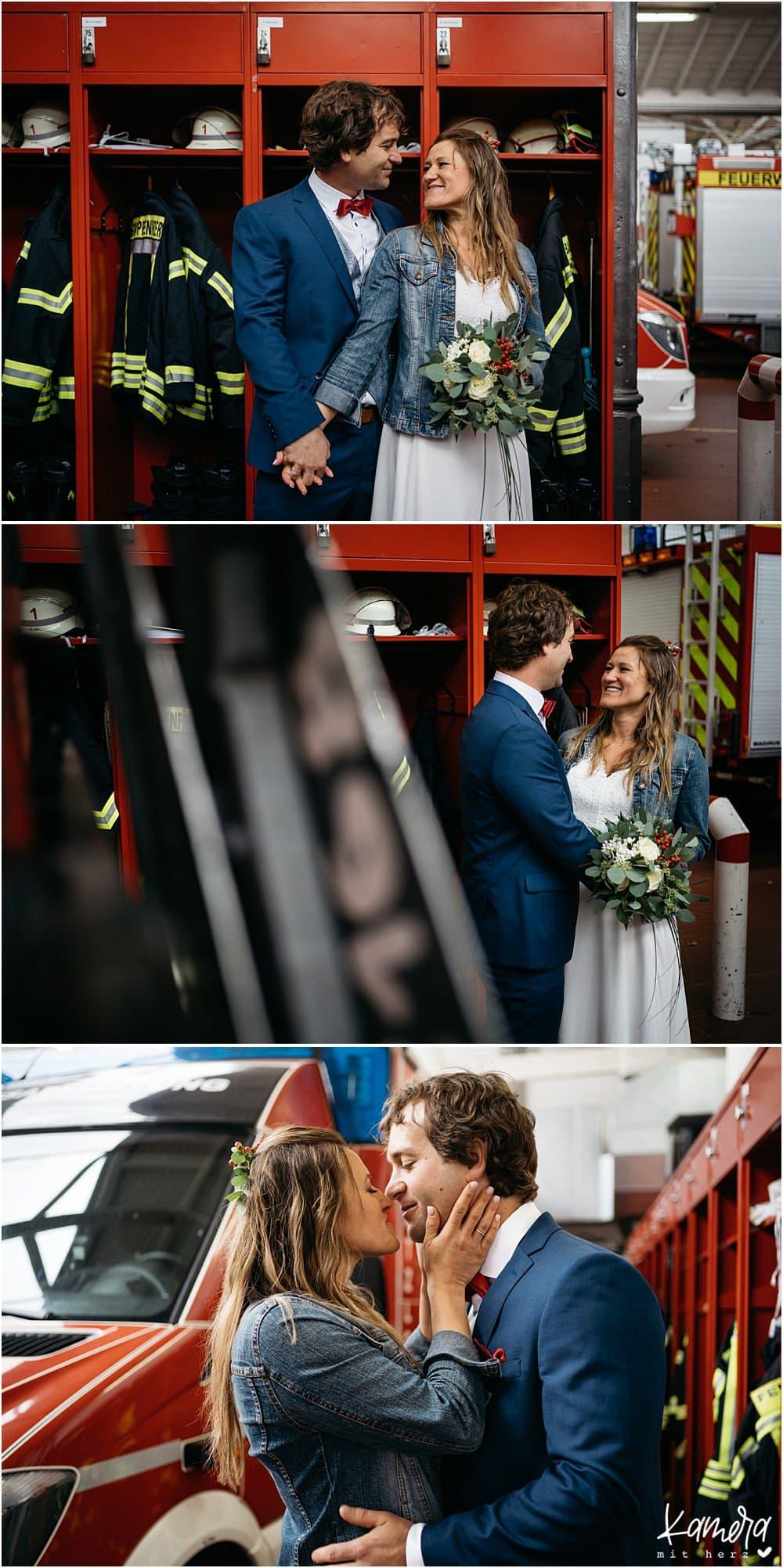 Paarshooting Brautpaar in der Feuerwache