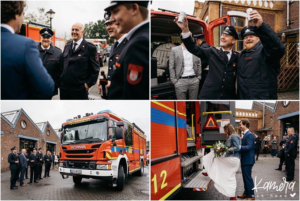 Sektempfang Hochzeit bei der Feuerwehr